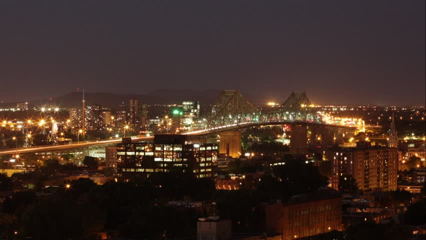 Jacques Cartier Bridge Time Lapse at Night - Pan Left