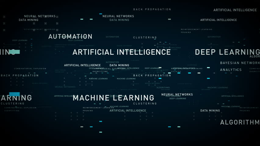 Keywords Artificial Intelligence Blue - Important terms about artificial intelligence drift through cyberspace. All clips are available in multiple color options. All clips loop seamlessly.