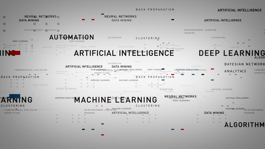 Keywords Artificial Intelligence White - Important terms about artificial intelligence drift through cyberspace. All clips are available in multiple color options. All clips loop seamlessly. | Shutterstock HD Video #27374485