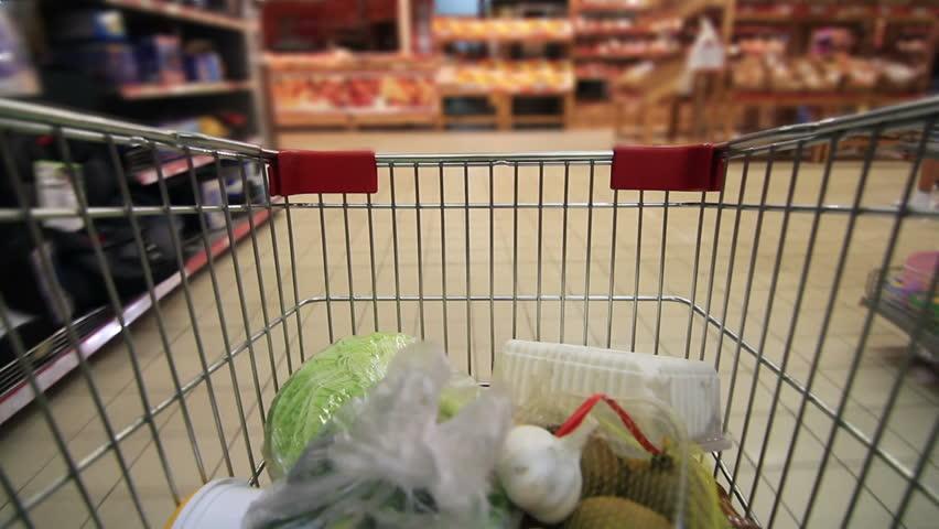 Trolley in a supermarket timelapse | Shutterstock HD Video #2737553