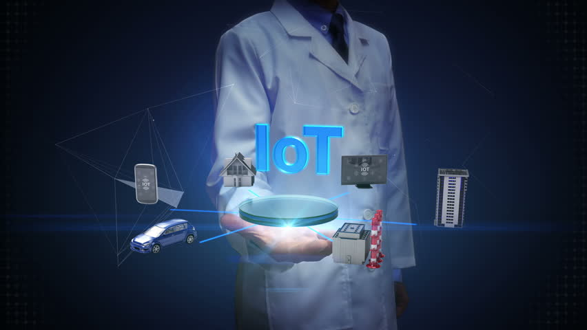 Scientist, engineer open palm, Smart house, Factory, Building, Car, Mobile, internet sensor connecting IoT technology, artificial intelligence. Internet of things. | Shutterstock HD Video #27376948