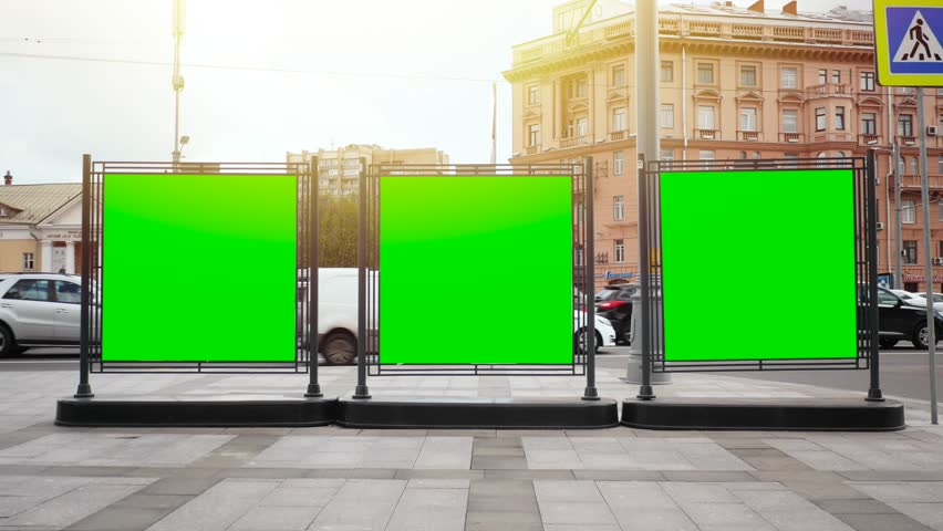 A Billboard with a Green Screen on a Busy Street | Shutterstock HD Video #27387889
