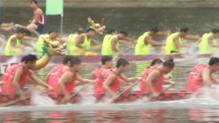 HONG KONG - JUNE 23: Dragon Boat Racing in Hong Kong. Dragon boat racing is a