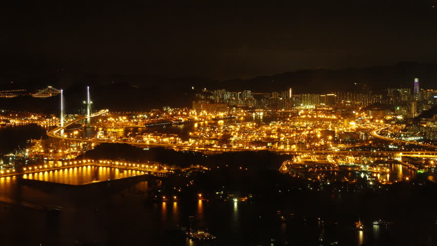 Time lapse of Hong Kong Kwai Tsing Container Terminal Panorama at Night.   Shutterstock HD Video #2739050