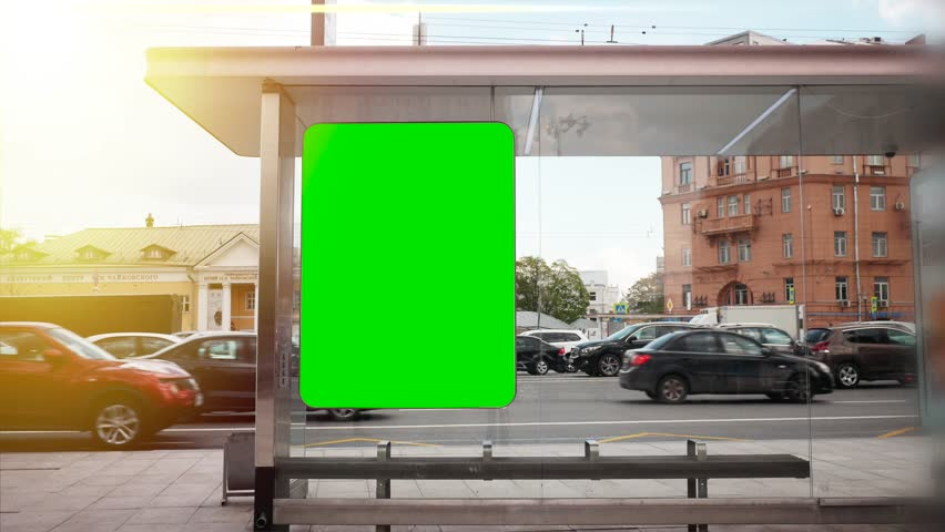 A Billboard with a Green Screen on a Busy Street | Shutterstock HD Video #27406012