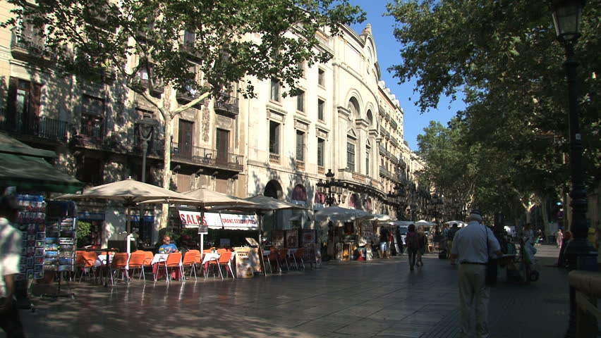 Barcelona, Spain - August 2012: La Rambla is a popular street with both locals and tourists