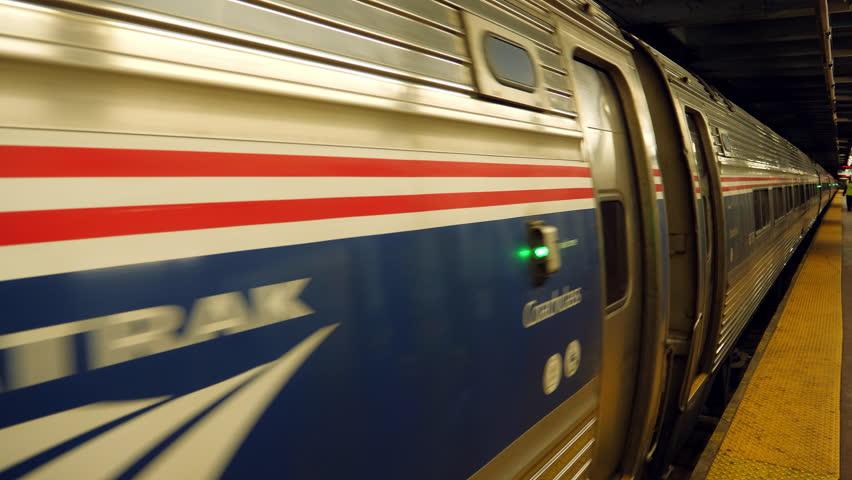 New York City, May 2017. Amtrak train leaving underground station, USA.