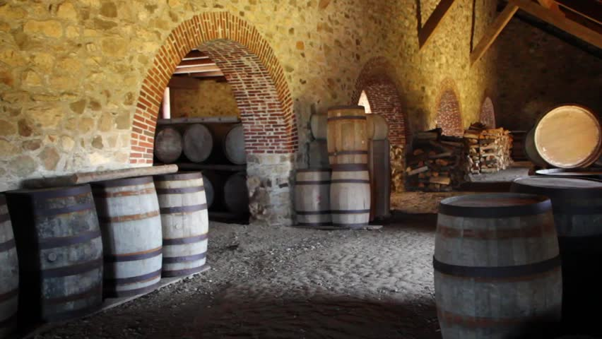 Large Barrels Stored Under the Castle