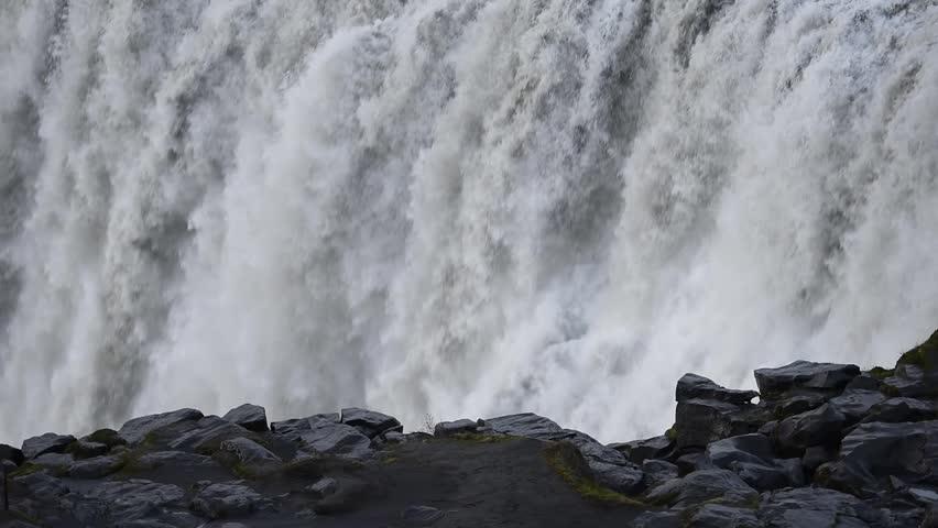 Dettifoss - most powerful waterfall in Europe. Jokulsargljufur National Park, Iceland. | Shutterstock HD Video #27437410