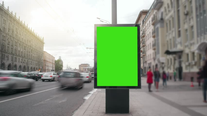 Time Lapse. A Billboard with a Green Screen on a Busy Street. | Shutterstock HD Video #27443029