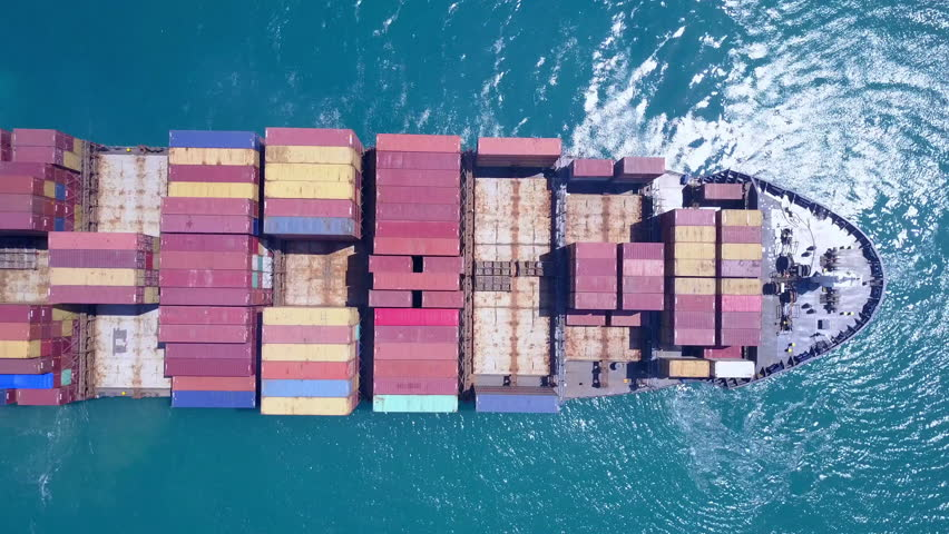 Large container ship at sea - Top down Aerial footage #27444334
