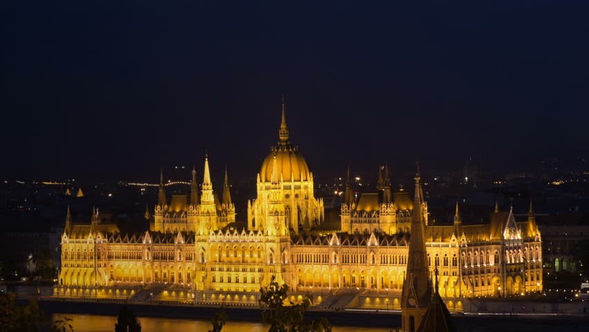 Budapest city. Night view golden flickering stars light on dark blue sky. Parlament building Danube river evening. Magic show Budapest Hungary. Beautiful view Budapest cityscape night Parliament | Shutterstock HD Video #27469852