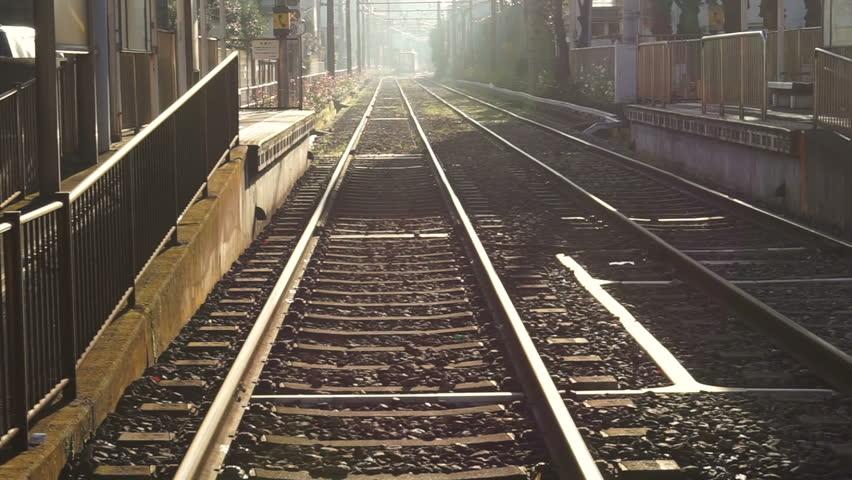 Local small light rail train station in Tokyo, Japan | Shutterstock HD Video #27480034