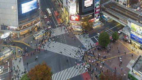 Jan 2017, Tokyo. Elevated time lapse of crowds crossing the famous Shibuya Crossing, Shibuya, Tokyo, Japan
