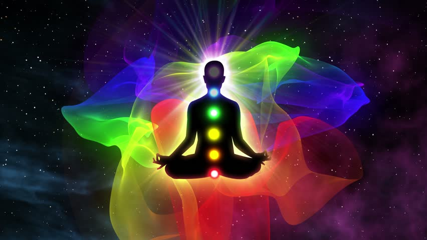 Seven Chakras Appearing over a Person Gaining Enlightenment Silhouette of Person Sitting in Lotus Pose of Yoga Surrounded with Aura | Spiritual Awakening and Unlocking 7 Chakra with Deep Meditation
