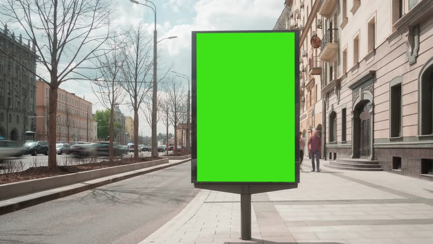 Time Lapse. A Billboard with a Green Screen on a Busy Night Street. | Shutterstock HD Video #27517945