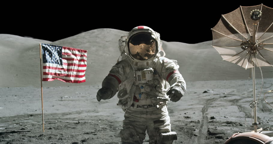Astronaut Moon Landing Apollo Mission with American Flag Zoom In, 4K some elements furnished by NASA images | Shutterstock HD Video #27528424
