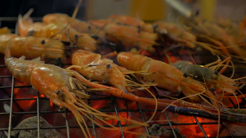Delicious grill fresh seafood shrimp   Shutterstock HD Video #27541597