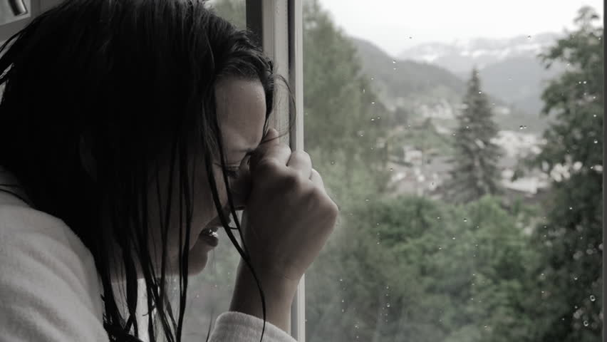 Woman crying desperate after violence and abuse slow motion desaturated | Shutterstock HD Video #27552790