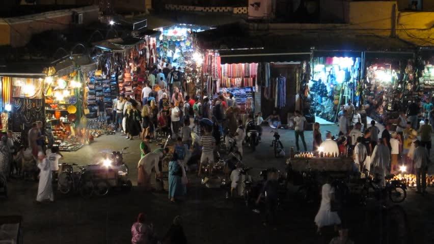 Jemaa el-Fnaa street market at night during Ramadan circa July 2012 in Marrakech, Morocco.