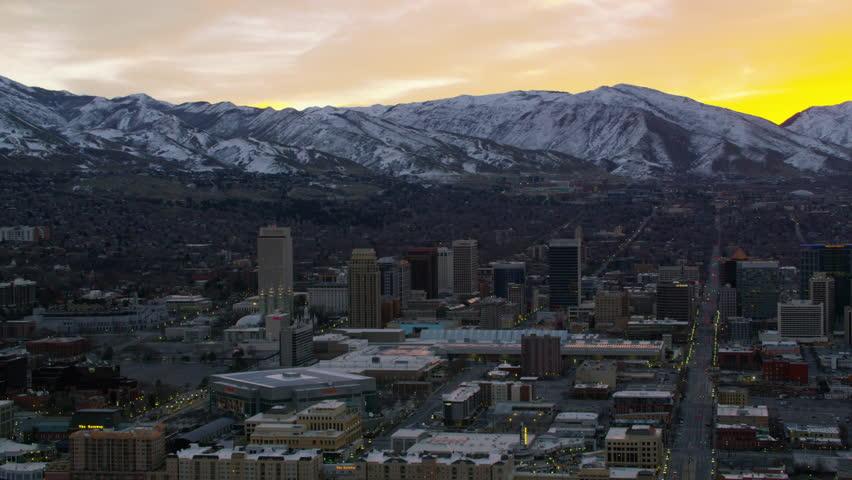 Salt Lake City, Utah circa-2017, Aerial shot of sunrise over Salt Lake City