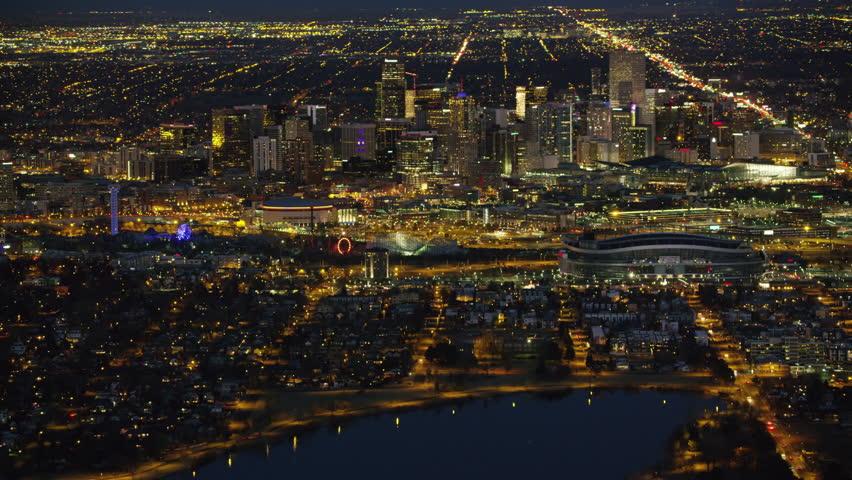 Denver, Colorado circa-2017, Aerial view of Denver at night