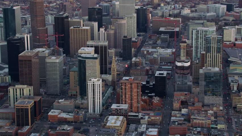 Denver, Colorado circa-2017, Zoom into downtown Denver city buildings   Shutterstock HD Video #27568825
