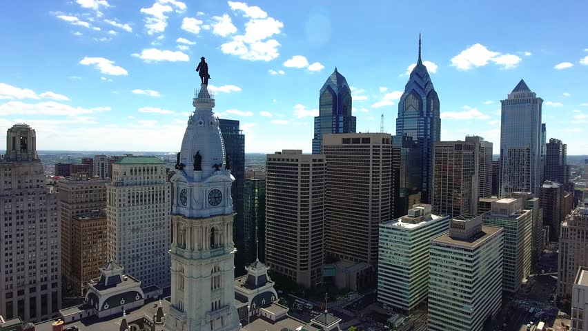Philadelphia, Pennsylvania's largest city, is notable for its rich history, on display at the Liberty Bell, Independence Hall / Aerial / Drone shot / 05.05.2017