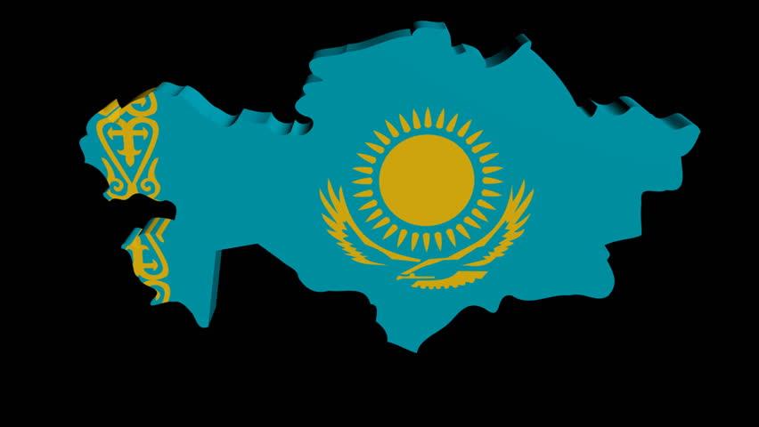 Kazakhstan Map Flag Rotating On Black Animation Stock Footage - Kazakhstan map hd