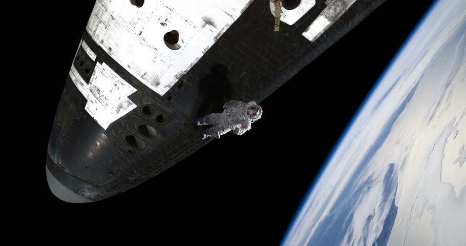 Astronaut Spacewalker Pushing off Space Shuttle Ship Over Earth, 4K some elements furnished by NASA images #27575623