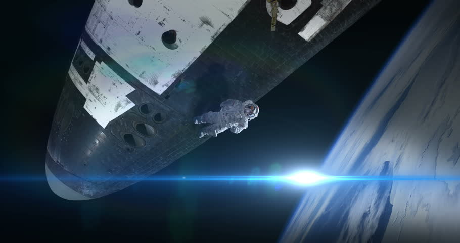 Astronaut Spacewalker Pushing off Space Shuttle Ship with Blue Flare some elements furnished by NASA images #27575656