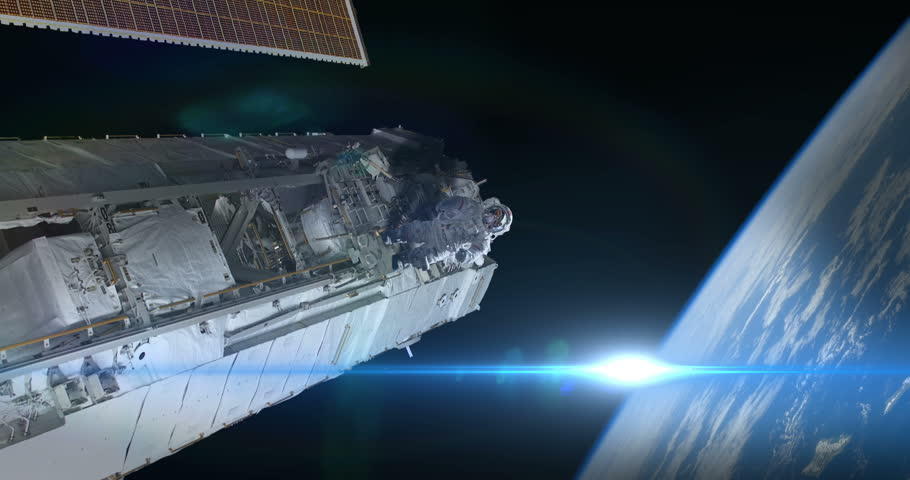 Astronaut Spacewalker Pushing off Space Station Blue Flare an Earth some elements furnished by NASA images #27575677