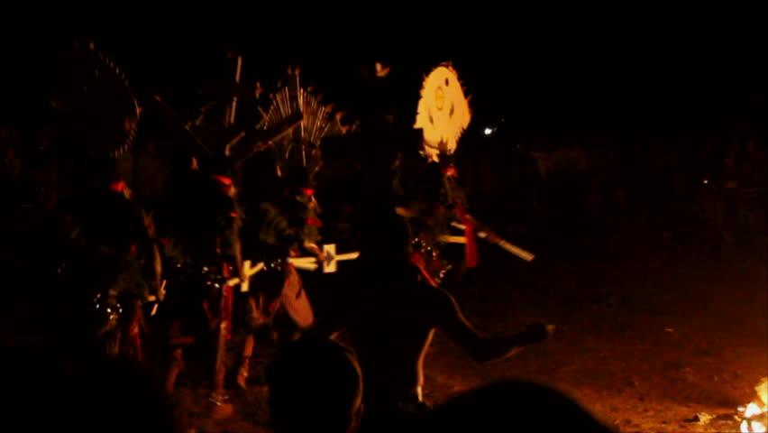 WHITERIVER, AZ - CIRCA 2012: Apache ( Gaan ) Apache Crown dancers practicing traditional dance around the fire circa 2012 in Whiteriver, AZ. | Shutterstock HD Video #2757950
