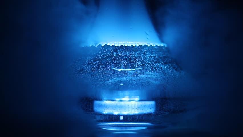 Flask of hookah, led backlight, smoke, air, bubbles, water, night smoking   Shutterstock HD Video #27589771