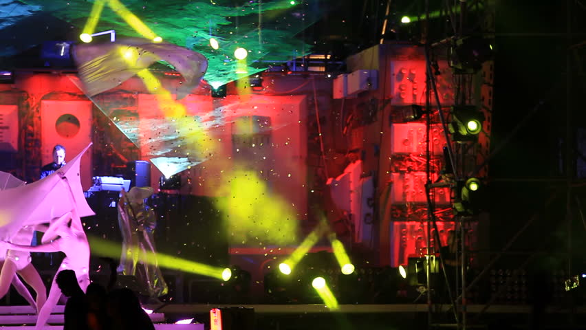 YEVPATORIA, CRIMEA - CIRCA AUGUST 2012: Colorful art performance at the annual music festival Kazantip 2012, circa August in Yevpatoria. #2760224