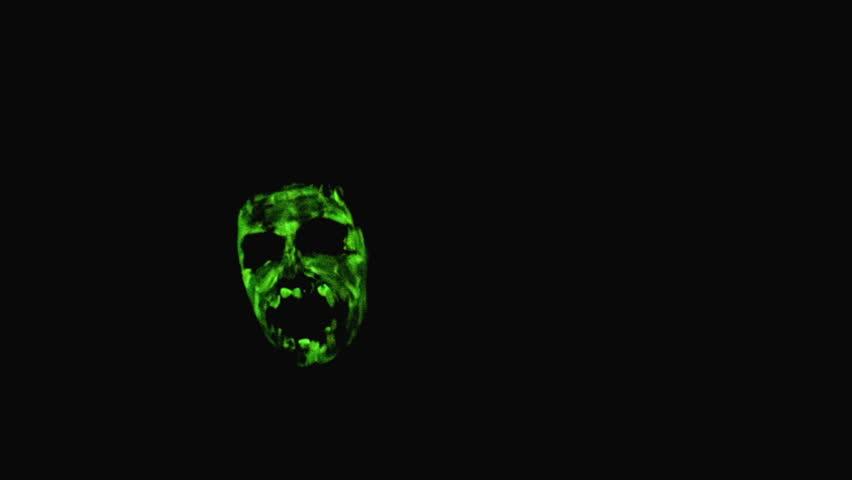 Creepy glowing face in the dark