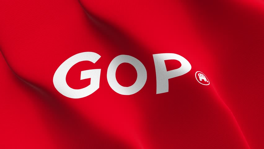 US republican got logo flag waving seamless loop in 4K and 30fps. United States republican got logo loopable flag with highly detailed fabric texture. | Shutterstock HD Video #27612385