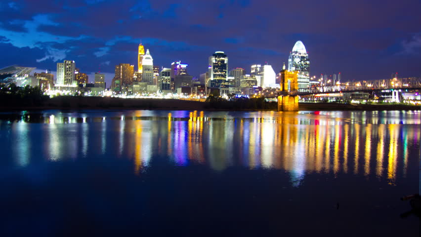 A motion time-lapse of the Cincinnati skyline at night with clouds | Shutterstock HD Video #2761925