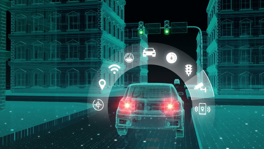 IoT car connect traffic information control system, select application, Internet of things concept.