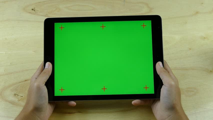 Woman Using Horizontal Tablet - Various Hand Gestures - Green Screen. | Shutterstock HD Video #27630049