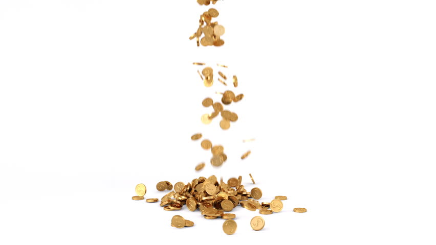 HQ Animation of Falling Golden Coins on white background. With Alpha Channel