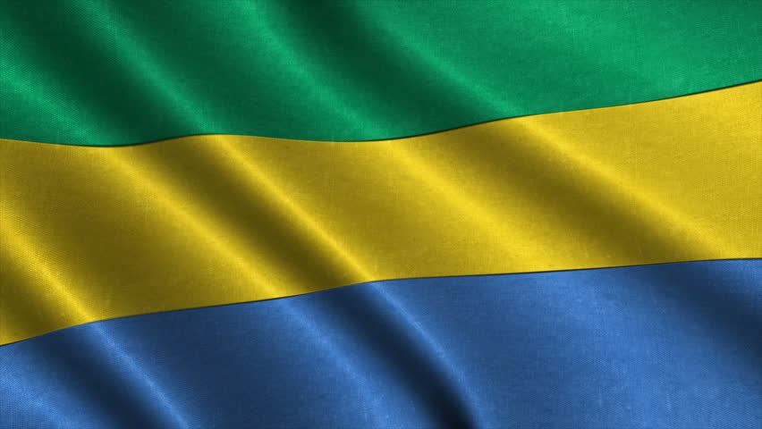 National flag of Gabon waving in the wind. detailed fabric texture. Seamless loopable Animation. 4K High Definition Video. 3d illustration.