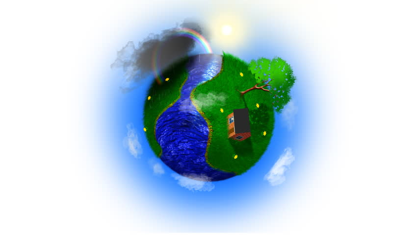 Green earth, revolving revolving green earth with falling rain, racing clouds, brilliant lightning, swaying leaves, waving grass and flowing water