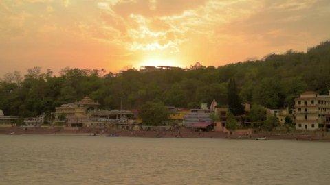 River Ganges sunset panorama