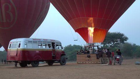 Bagan, Myanmar - Feb 17, 2015: People are ready to come to balloon in Bagan, Myanmar.