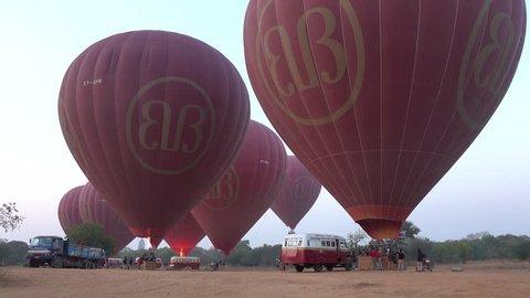 Bagan, Myanmar - Feb 17, 2015: Hot air balloons are ready to fly in Bagan, Myanmar.