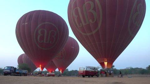 Bagan, Myanmar - Feb 17, 2015: Many red balloons at the site in Bagan, Myanmar.