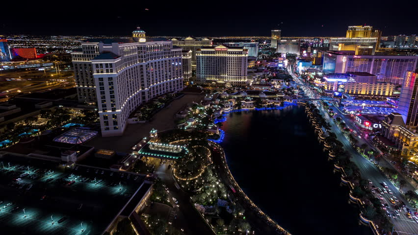 Las Vegas, Nevada, USA - June 6th 2017 - Las Vegas Aerial Timelapse at Night With Panning | Shutterstock HD Video #27684025
