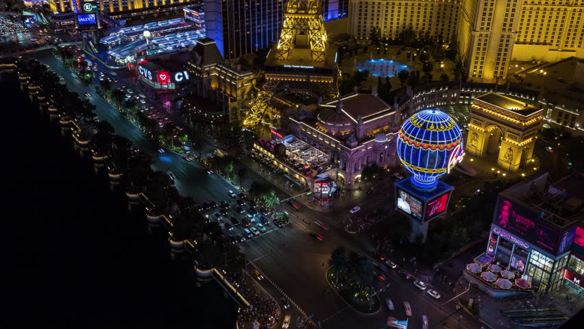 Las Vegas, Nevada, USA - June 6th 2017 - Las Vegas Strip Aerial Timelapse at Night With Panning and Tilting