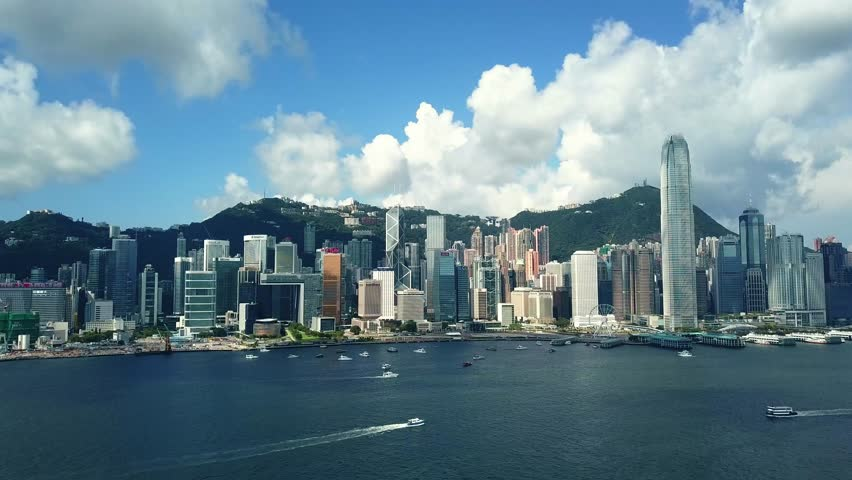 June 10,  2017 : 4K footage aerial view of  Hong Kong Island from Victoria Harbor  | Shutterstock HD Video #27733600
